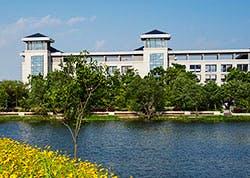 seu building and lake